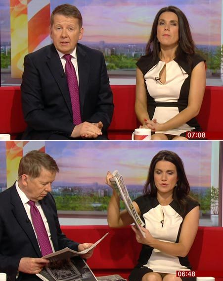 Co-presenter Bill Turnbull didn't seem to notice he was sat next to a knicker flasher
