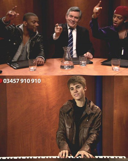 Justin Bieber plays the keyboard as Gordon Brown sings along with JLS for Comic Relief