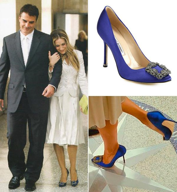 lydia bright does a carrie bradshaw in blue diamond manolo
