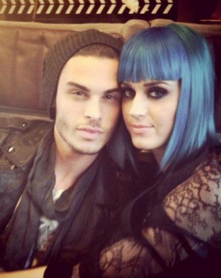Katy Perry cuddles up to Baptiste Giabiconi in a picture posted on his Twitter page