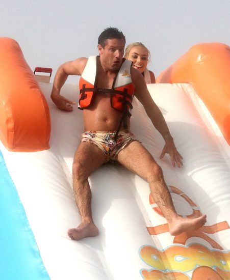Dean Gaffney failed to hide his fear as he braved the slide