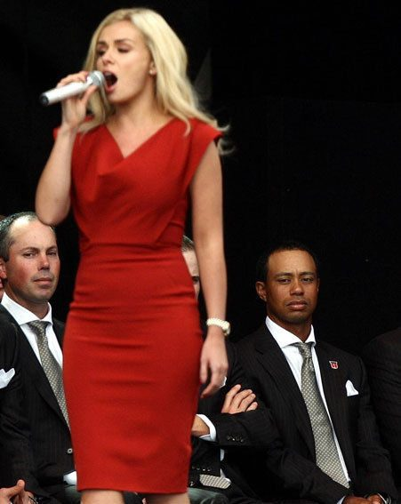 Tiger Woods made extra sure Katherine Jenkins didn't have a VPL problem on stage
