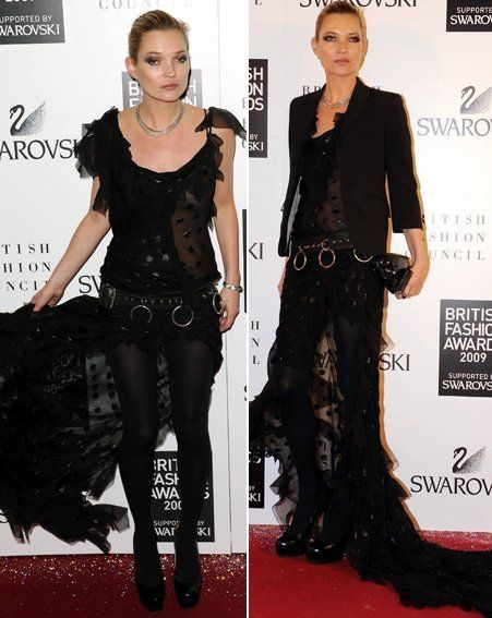 British Fashion Awards: Kate Moss in her rocker/lace creation