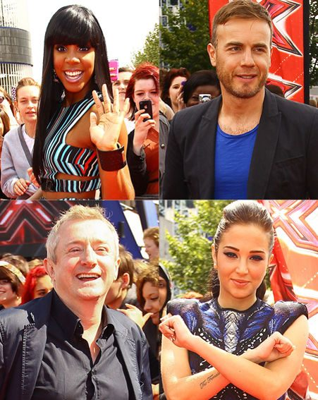 X Factor's judges Kelly Rowland, Louis Walsh, Gary Barlow and Tulisa Contostavlos