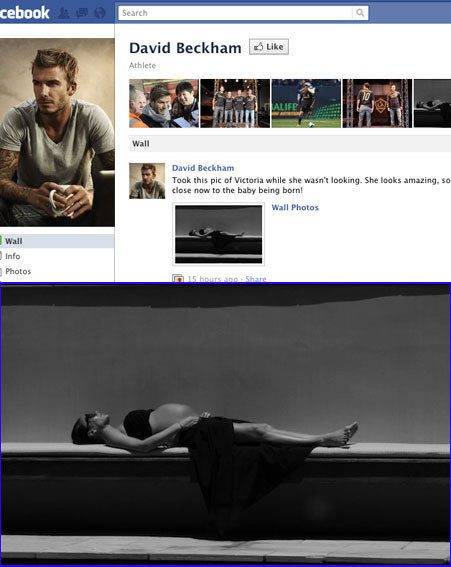 David Beckham has posted a picture of a heavily pregnant Victoria Beckham on his Facebook page