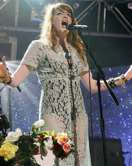 Soul-inspired indie band Florence And The Machine onstage last night