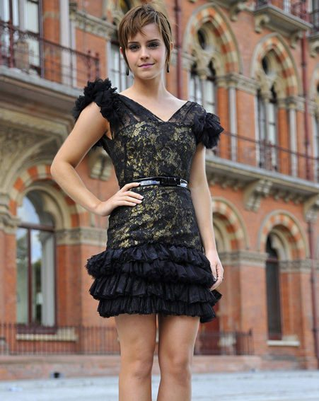 Harry Potter star Emma Watson in a black ruffle number