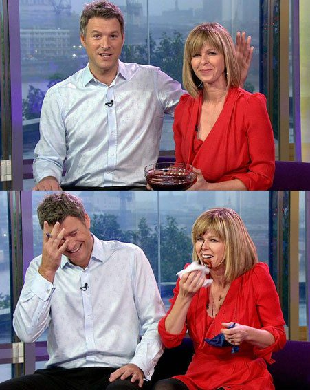 Kate Garraway was pushed into a bowl of chocolate by her co-presenter