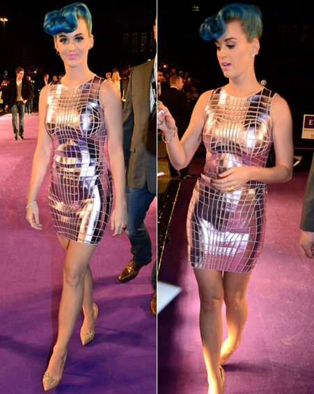 Katy Perry opted for a metallic fitted number