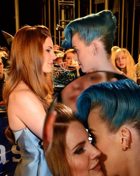 Katy Perry and Lana Del Rey greet each other on the red carpet with kiss on the cheek