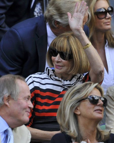 Anna Wintour was smiling on Centre Court at Wimbledon today