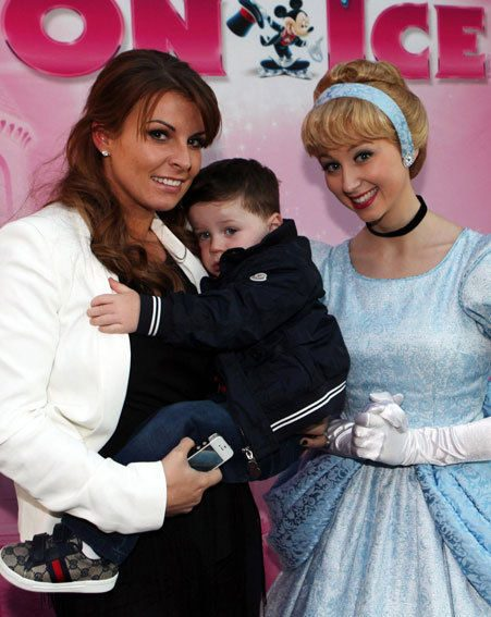 Coleen Rooney's son Kai looked terrified of Cinderella at the Disney On Ice launch (David Munn/PA)