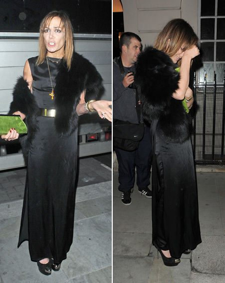 Tara Palmer-Tomkinson held her head in her hands as she turned away from the camera