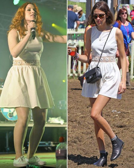 Katy B and Alexa Chung wore the same Topshop dress to Glastonbury this weekend