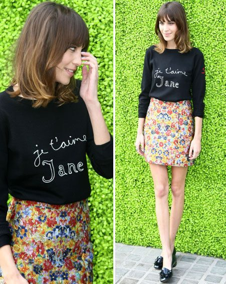 Alexa teamed her Celine skirt with a black Bella Freud jumper and black loafers