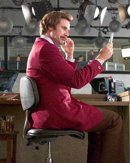Comedian Will Ferrell as Anchorman's Ron Burgundy