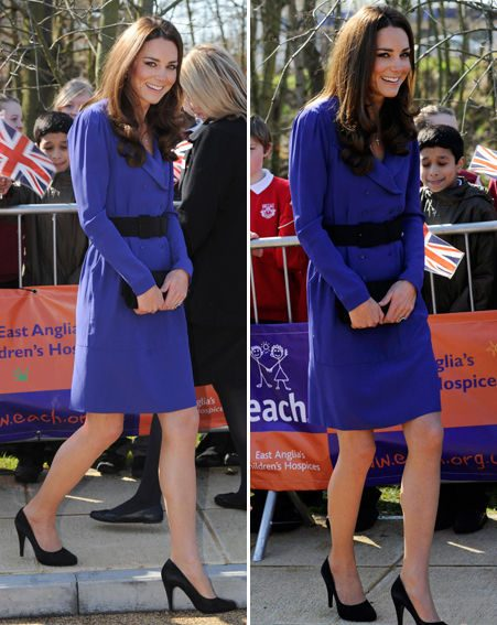 Kate donned a cobalt-blue jacket-dress for the big occasion
