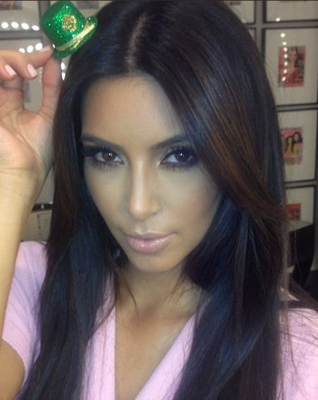 Kim Kardashian and her tiny St Patrick's Day hat
