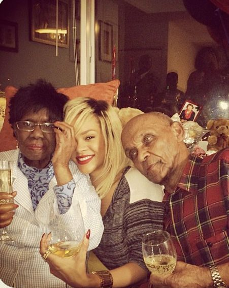 Rihanna snuggles up with grandparents Clara and Lionel
