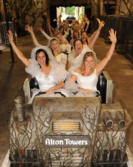 These brave brides don their wedding dresses for a ride at Alton Towers