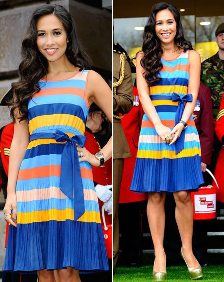 Myleene looked gorgeous in a striped Littlewoods dress at the event