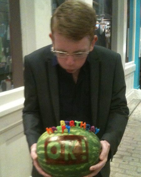 Big Brother's Andrew celebrated his 20th birthday with a watermelon cake from OK!
