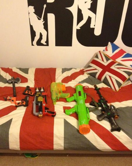Natasha Giggs tweeted this snap of what appears to be her son's toy gun collection