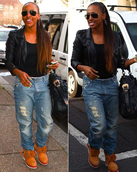 The X Factor star wore baggy jeans and leather jacket with boots