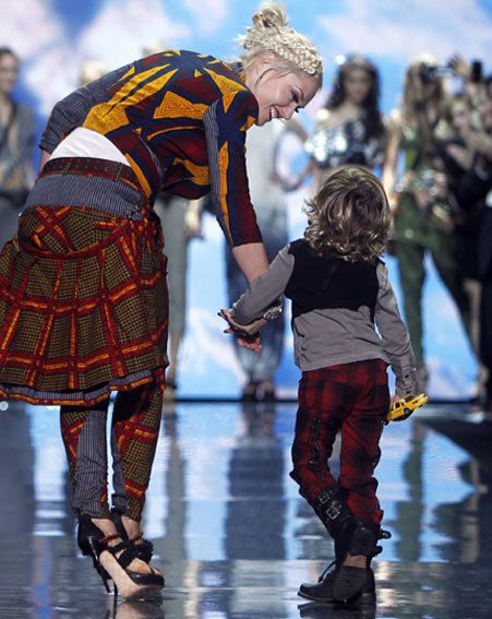 Gwen Stefani took to the L.A.M.B catwalk at New York Fashion Week yesterday...with her son!