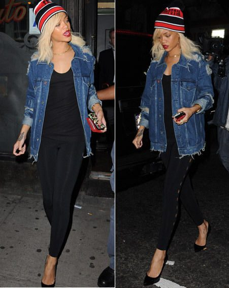 Rihanna teamed the hat and jacket with black leggings and pointed heels