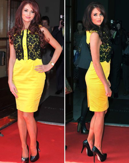 Amy Childs dazzled in a yellow lace dress at the Mum of the Year awards