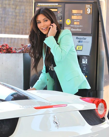 Kim Kardashian looked stunning as she filled up at a petrol station