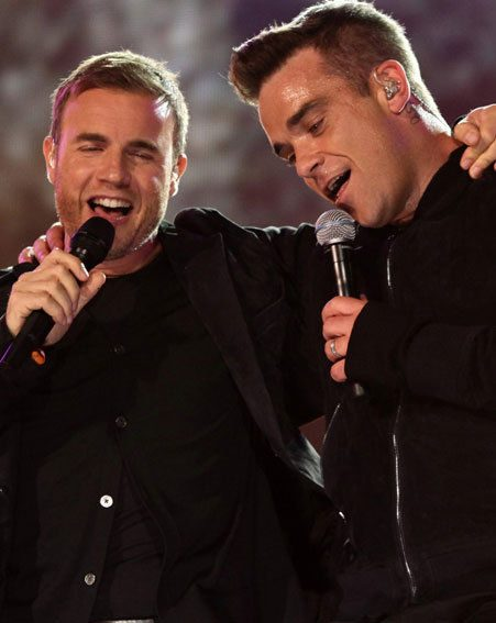 Robbie Williams and Gary Barlow reunited on stage at Help For Heroes last night