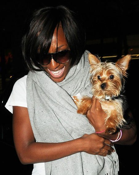 Alexandra Burke leaves her chauffeur driven car with her pet Alfie