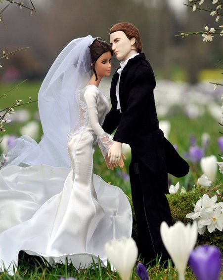 The Twilight Barbie dolls don't look that happy to be marrying eachother...