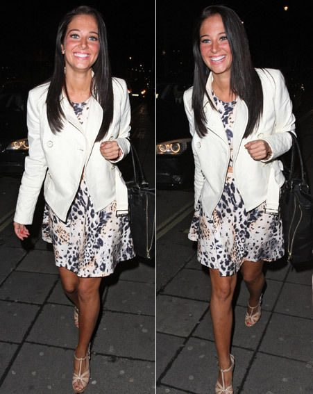 Tulisa showed off her lovely tan against a white and animal print ensemble