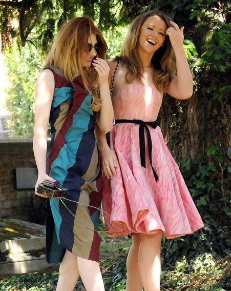 Nicola Roberts and Kimberley Walsh arrive at their friend's wedding