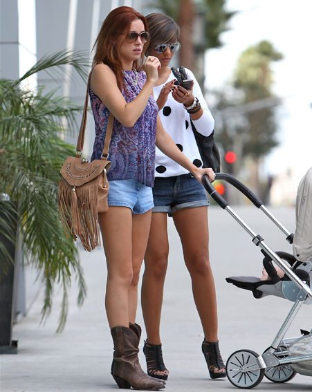 Una Healy and Frankie took baby Aoife Belle out for a stroll before heading to the recording studio