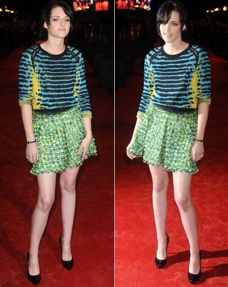 Kristen went for fashion brights in a jumper dress creation