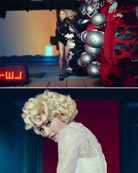 Madonna looks like she's turned back the clock in the video, wearing her retro Marilyn look