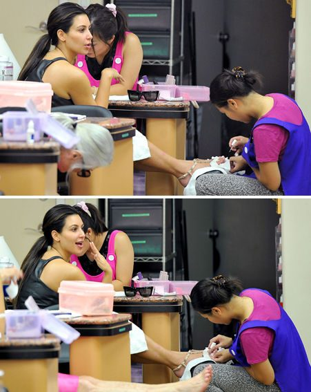 Kim Kardashian showed she's got her beauty regime finely tuned as two beauticians worked on her
