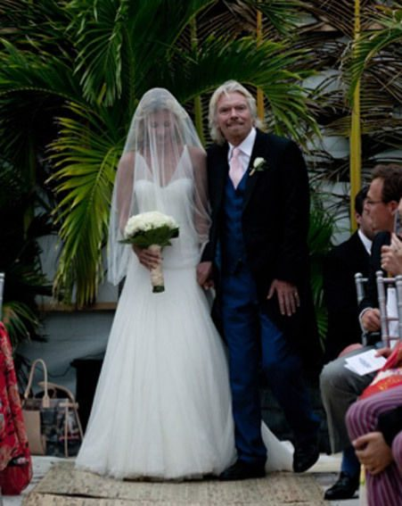 Richard Branson takes his daughter Holly's down the aisle to get married