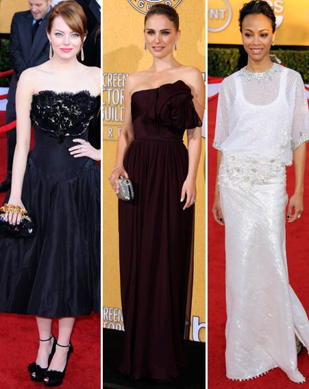 Emma Stone, Natalie Portman and Zoe Saldana were picture-perfect at the SAG Awards 2012
