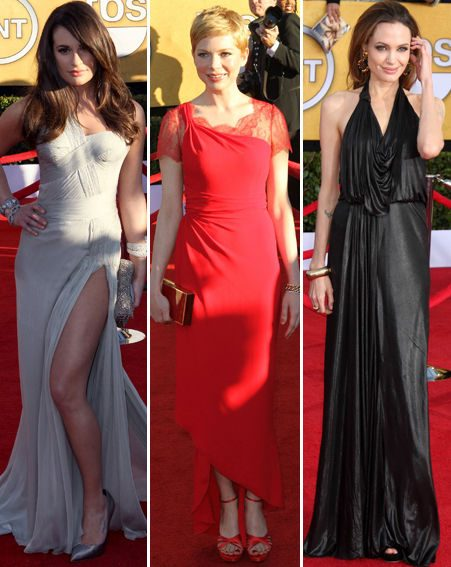 SAG Awards 2012 red-carpet: Lea Michele dazzled alongside Michelle Williams and Angelina Jolie
