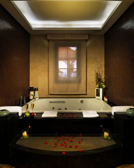 The luxurious bathroom in the private villa