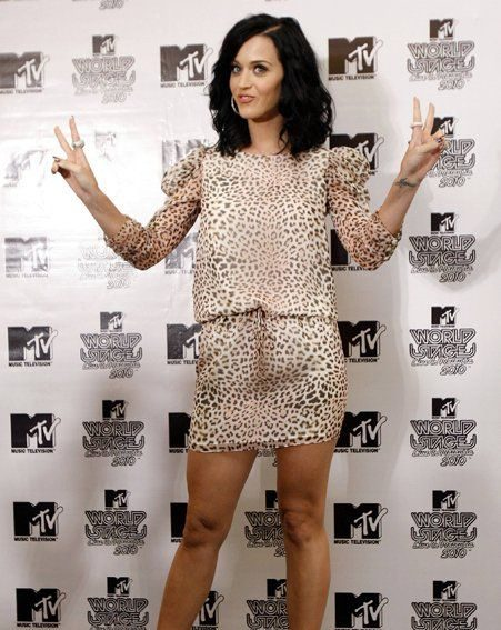 Katy Perry looked fashion-forward in the leopard-print frock she debuted at the weekend
