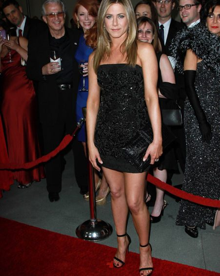 Jennifer Aniston looked stunning in her black mini-dress at the awards show