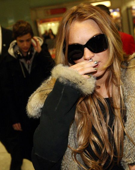 Lindsay arrived in Heathrow a few moments ago
