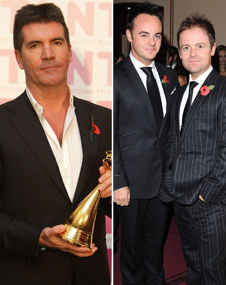 Simon Cowell didn't look too pleased with his award, but Ant and Dec were happy with theirs