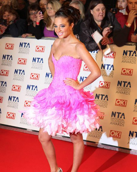 NTAs 2012: Tulisa Contostavlos in a pink feather dress